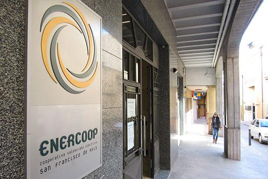 Fachada Enercoop, cartel