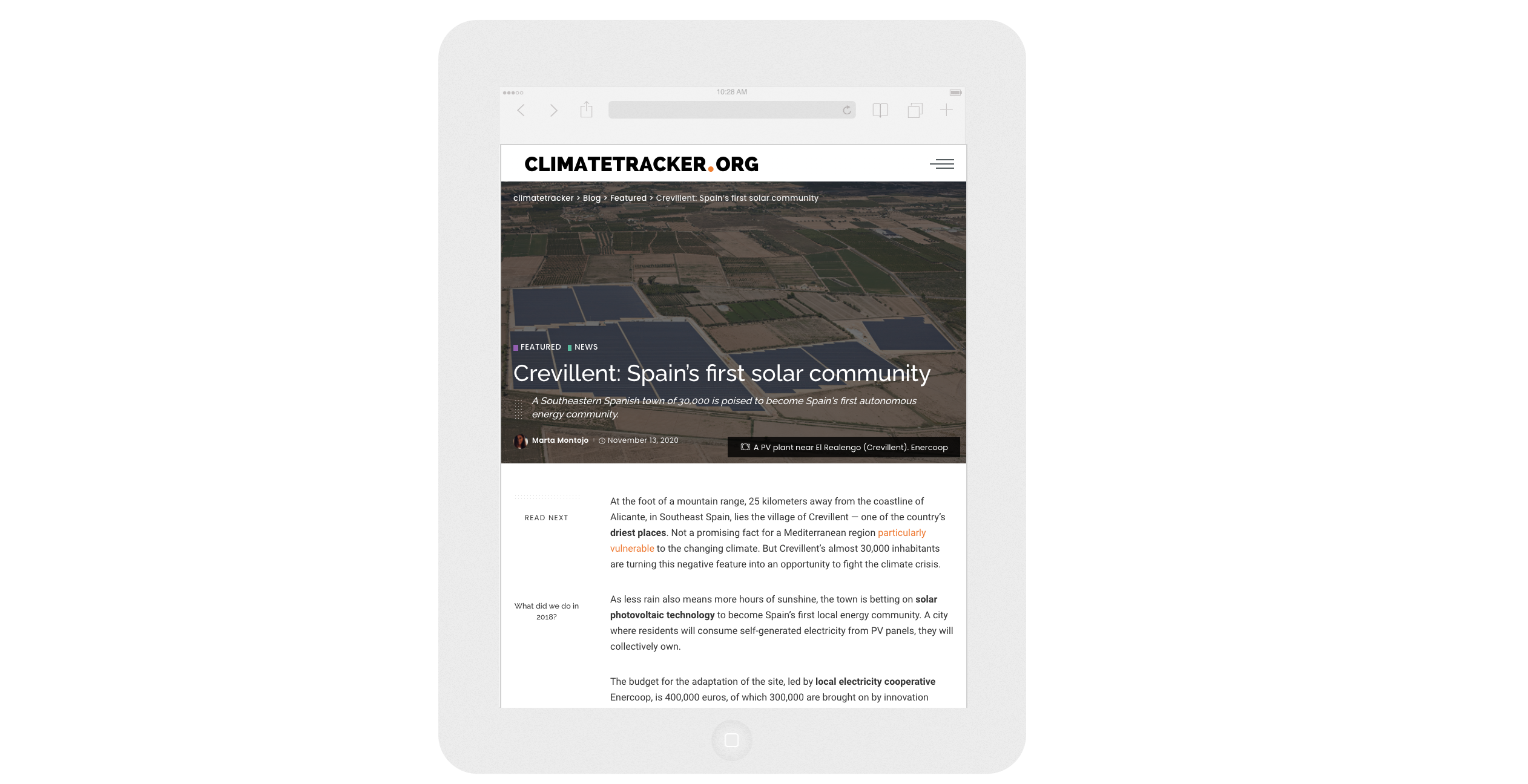 Climate Tracker publica un reportaje sobre la Comunidad Energética COMPTEM